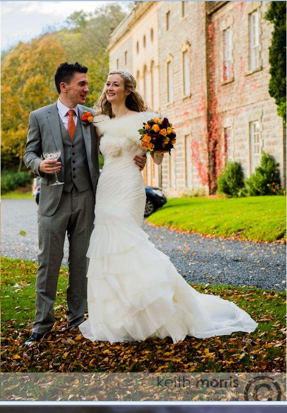 The bride and groom outside Nanteos