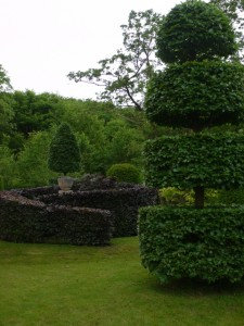 The spiral of copper beech leads to a central urn, and then out again along a parallel arc.