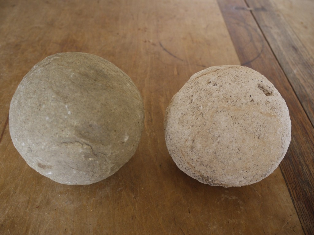 Two stone cannon balls excavated in 1977 at Aberytwyth Castle