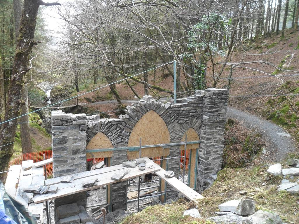 The Gothic arcade, Hafod, under restoration