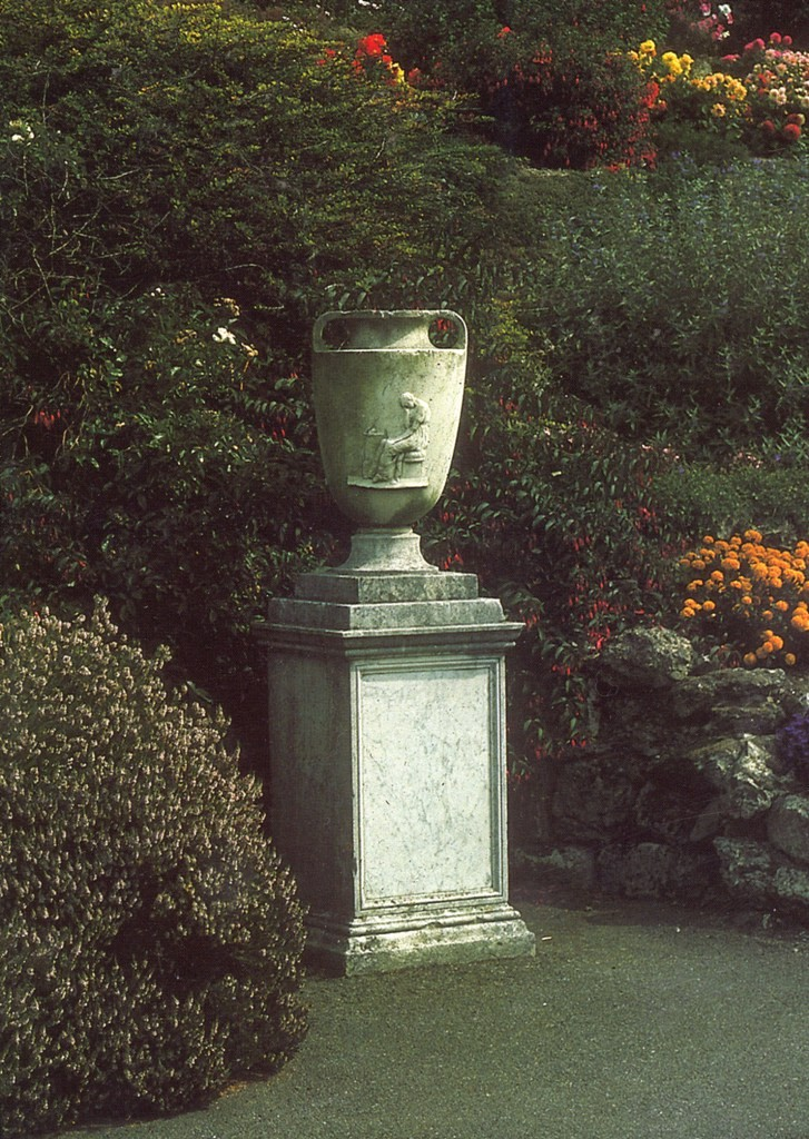 The urn in the garden of the national Library of Wales, c. 1976. Courtesy of Dr Stephen Briggs