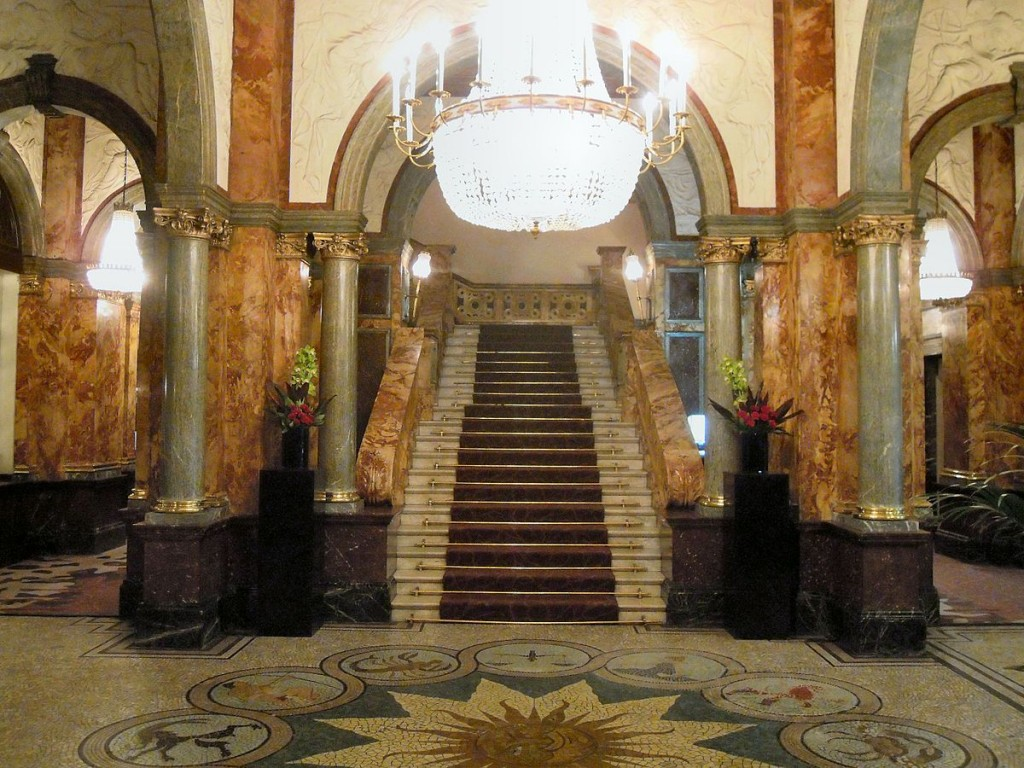 The Mosaic by Jesse Rust at the foot of the marble staircase in the Hotel Russell