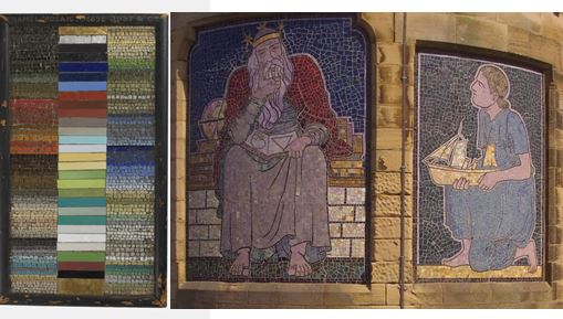 Jesse Rust samples in V &A set beside CFA Voysey's triptych