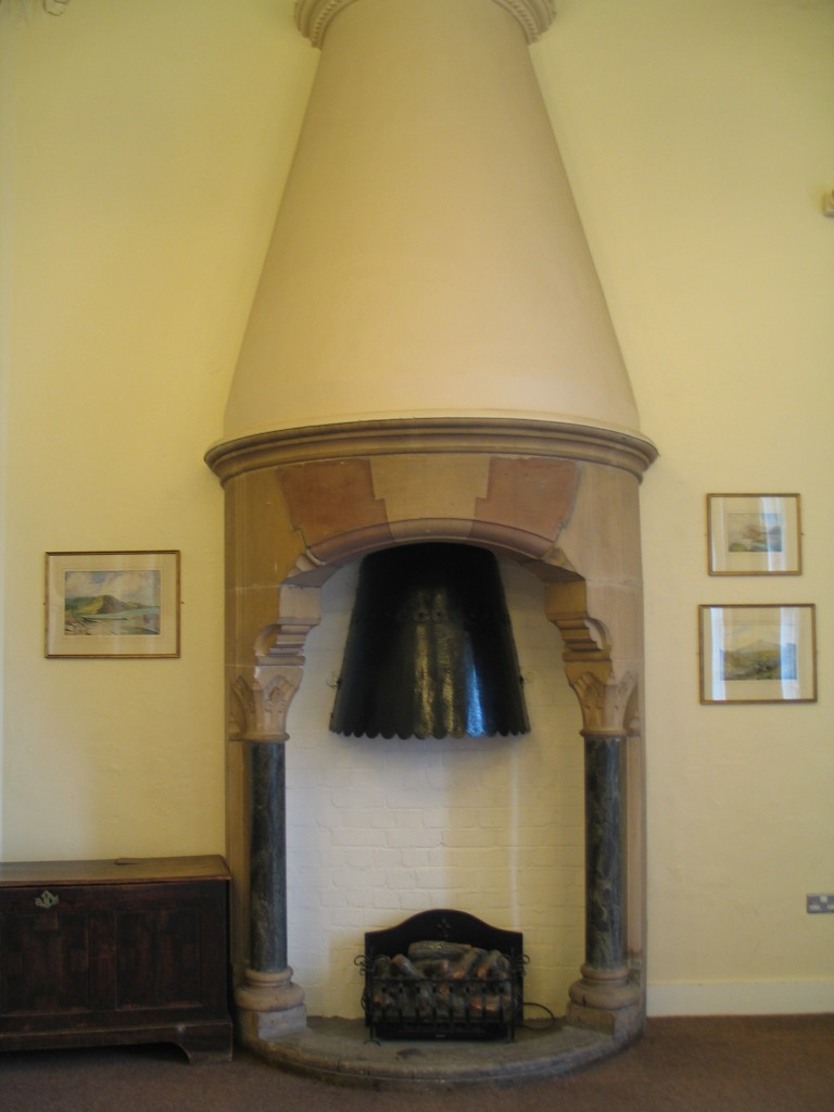 Fireplace hood, believed to be of Ransome's artificial stone, in the Seddon Room