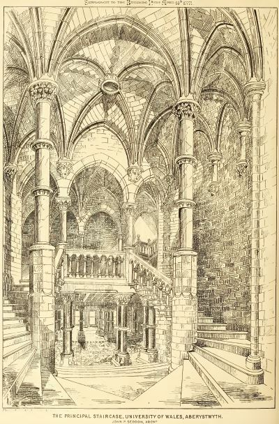 The Principal Staircase of the University College at Aberystwyth. Building News April 14 1871