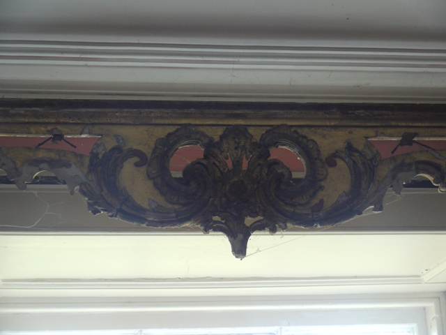 Carved and gilded pelmet board, possibly originally made for Hafod